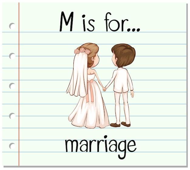 A letra m do flashcard é para casamento