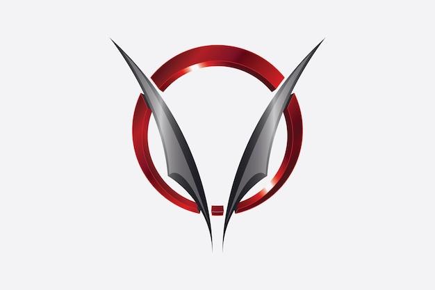 A letra v é espalhada como uma asa dentro do anel redondo