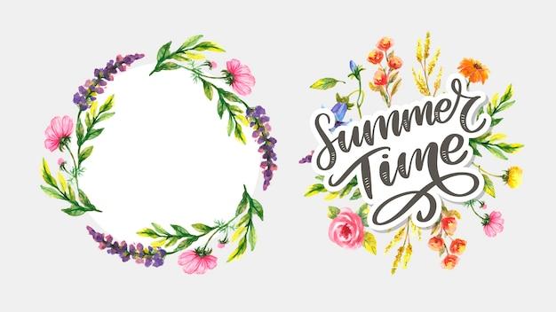 A letra verde das horas de verão floresce no estilo moderno no fundo colorido. ilustração de convite de saudação. decoração de buquê floral. elemento de decoração.