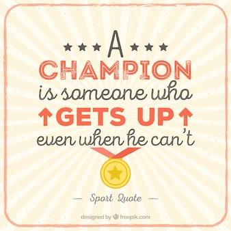 A lettering citação campeão