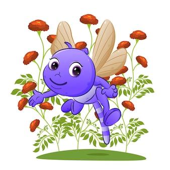 A libélula está voando e mostrando as coisas no jardim da ilustração