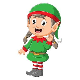 A linda elfa está dando as boas-vindas e acenando com a mão da ilustração