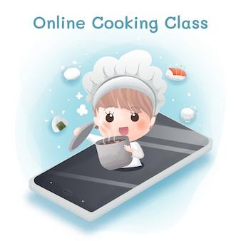 A linda garota aprende a cozinhar on-line por causa do surto de covid-19.