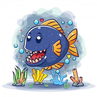 A linda piranha com dentes afiados no fundo do mar