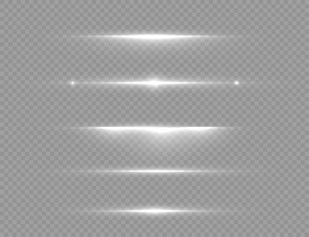 A linha de luz branca brilhante explode em um fundo transparente.