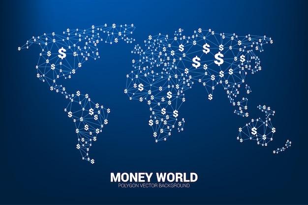 A linha do polígono do vetor conecta a forma do dinheiro da moeda do dólar o mapa do mundo. conceito para o mundo da economia.