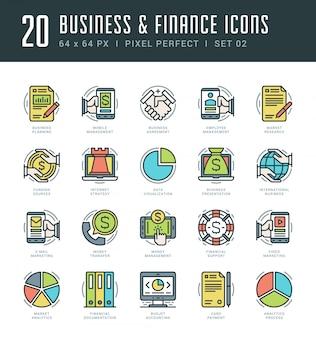A linha ícones ajustou o conceito linear fino moderno na moda do negócio e da finança do vetor do curso.