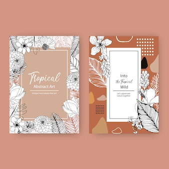 A linha projeto tropical do quadro da arte com flores e folhas entrega a ilustração tirada.