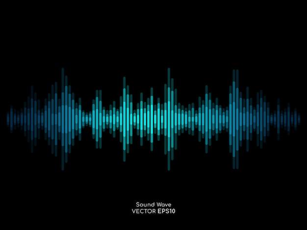 A listra abstrata da onda sonora alinha o equalizador do verde azul isolado no fundo preto.