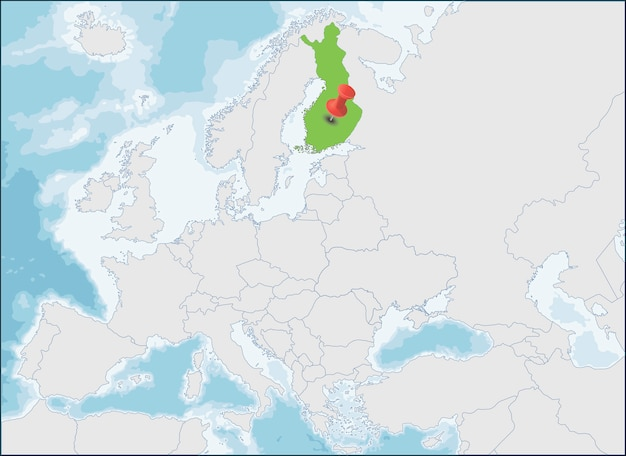 A localização da república da finlândia no mapa da europa