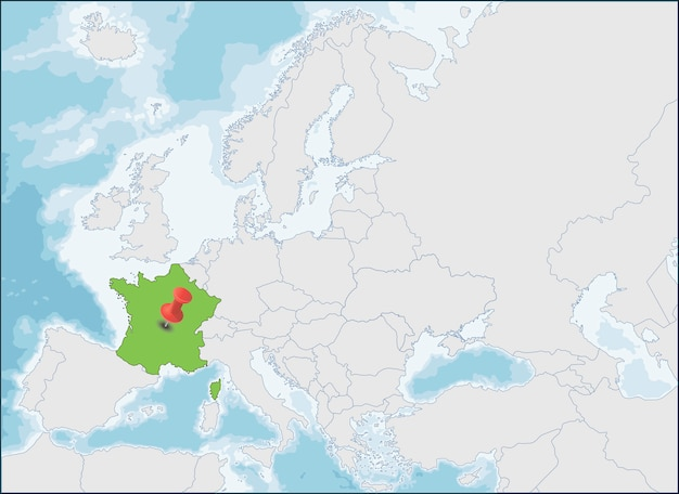 A localização da república francesa no mapa da europa