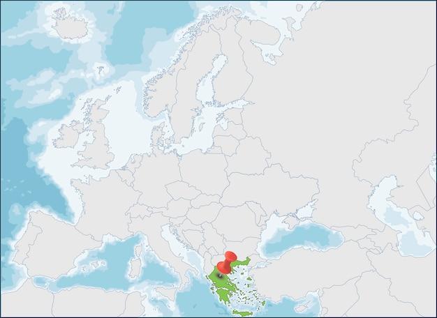 A localização da república helênica no mapa da europa