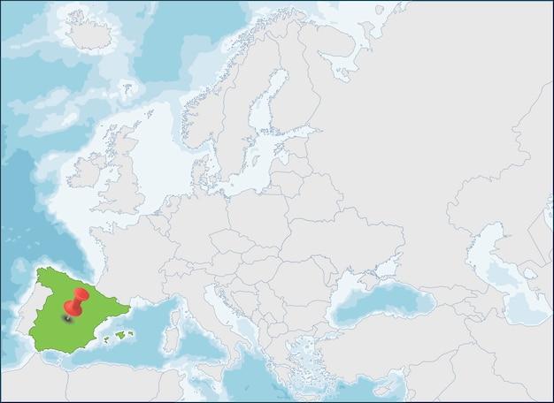 A localização do reino de espanha no mapa da europa
