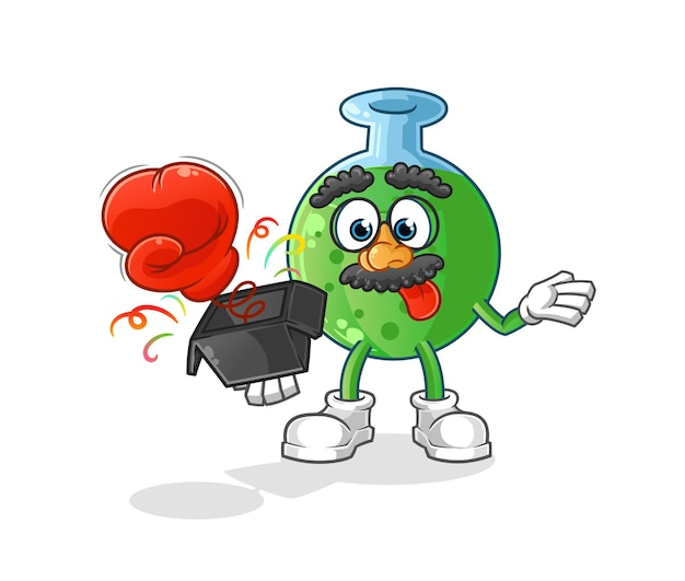 A luva de vidro químico na caixa. mascote mascote dos desenhos animados