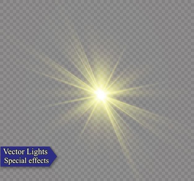 A luz branca brilhante explode em um fundo transparente para centralizar um flash brilhante.