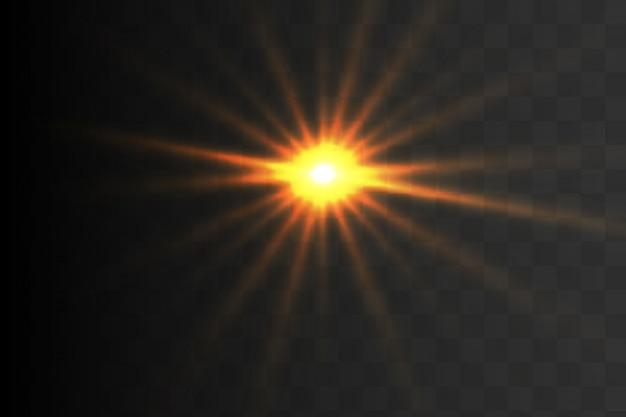 A luz brilhante do ouro explode. partículas de poeira mágica cintilante. estrela brilhante. sol brilhante e transparente, flash brilhante. brilhos de vetor.