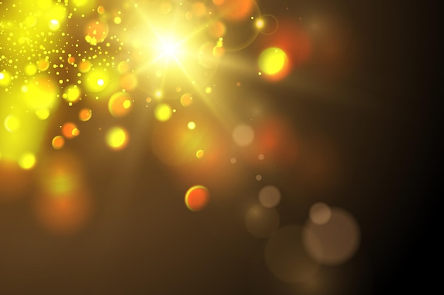 A luz brilhante do sol luz solar transparente reflexo da lente solar frontal