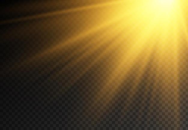 A luz do sol com luz de explosão brilhante luz mágica cintila raios de sol efeito de feixe amarelo