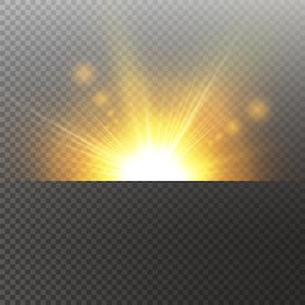 A luz realça o efeito especial amarelo com raios de luz e brilhos mágicos. raio de sol . conjunto de efeitos de luz de vetor transparente de brilho, explosão, brilho, faísca, erupção solar.