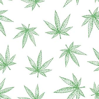 A maconha deixa o padrão de fundo sem emenda. esboços de cânhamo desenhados à mão. modelo de cartão, embalagem, papel de parede ou capa de cannabis