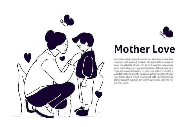 A mãe ama a ilustração desenhada à mão do filho