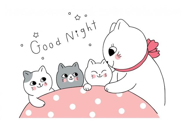 A mãe bonito dos desenhos animados e o gato do bebê dizem o vetor da boa noite.