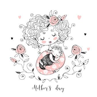 A mãe com o bebê. cartão de dia das mães