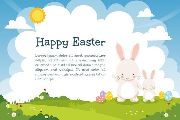A mãe e o filho do coelho branco estão no gramado com ovos de páscoa