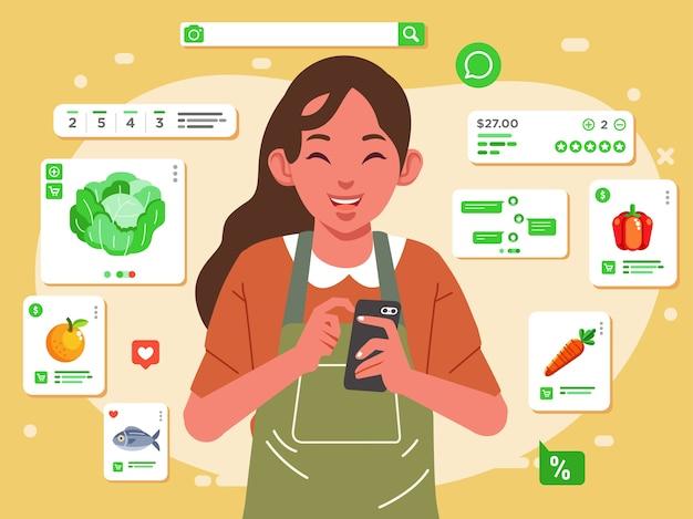 A mãe está fazendo compras online na loja online com seu telefone, frutas, vegetais, peixes e outras entregas para ilustração em casa. usado para imagem da web, pôster e outros