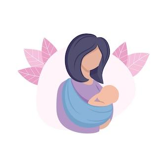 A mãe segura a criança em uma tipóia. mãe e bebê recém-nascido. gravidez, parto, maternidade. ilustração em vetor plana dos desenhos animados. o conceito de família e o amor materno. desenho para uma página da web