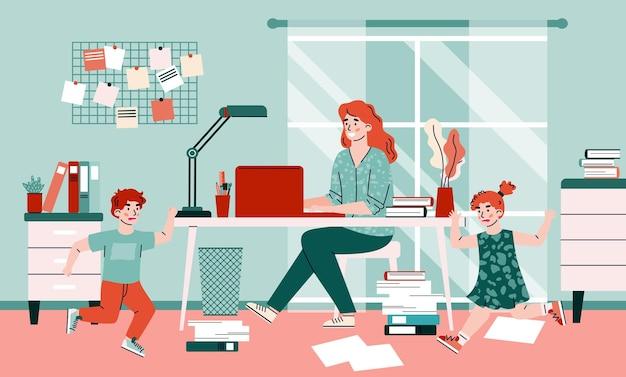 A mãe trabalha em casa, na mesa, com o laptop, perto de crianças brigando, uma ilustração vetorial