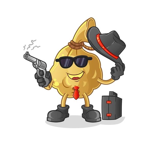A máfia do saco de dinheiro com mascote do personagem armado
