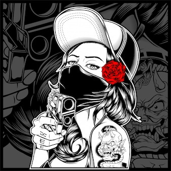 A, máfia, mulher segura, um, arma
