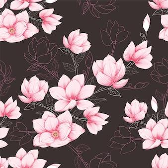 A magnólia pastel do rosa sem emenda do teste padrão floresce o fundo.