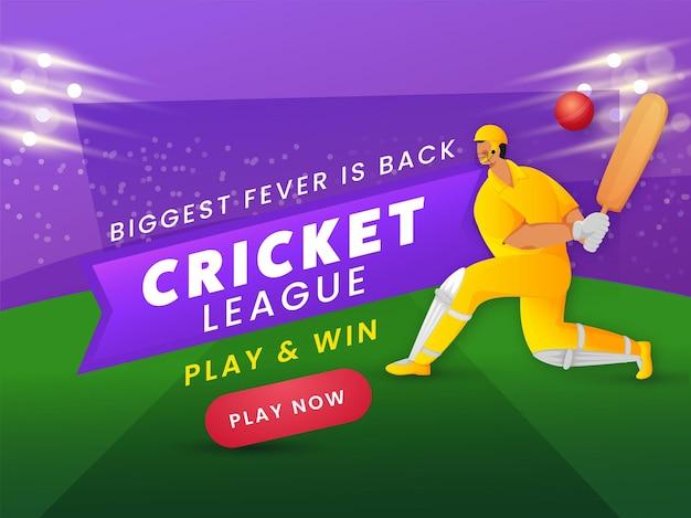 A maior febre está de volta design de pôster baseado na liga de críquete com o jogador do batedor em pose de jogo