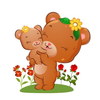 A mamãe urso feliz está levantando seu bebê no jardim de flores da ilustração