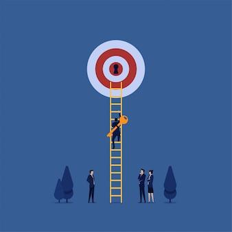 A manjedoura plana de negócios traz a chave e sobe a escada para desbloquear o progresso da meta.