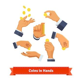 A mão coloca contagem, dando, jogando moedas