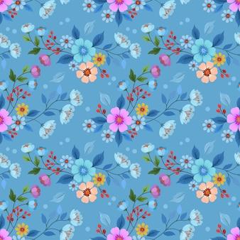 A mão colorida tirada floresce o projeto sem emenda do vetor do teste padrão para o papel de parede de matéria têxtil da tela.
