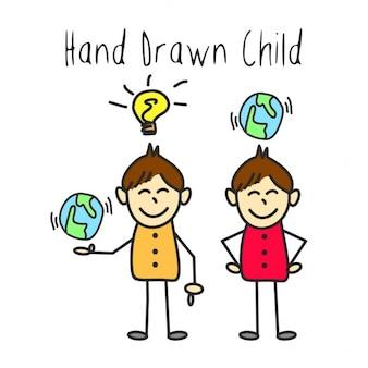 A mão da criança drawn