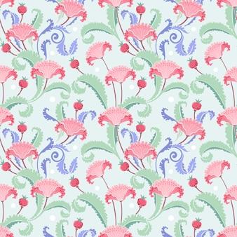 A mão da ilustração desenhada floresce e filtra a matéria têxtil sem emenda da tela do teste padrão.
