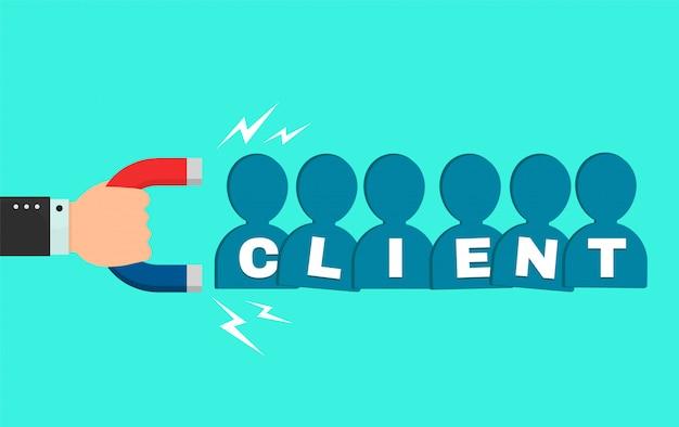 A mão de um empresário com um grande ímã atrai novos clientes compradores sinal de pessoas. desenho animado estilo moderno ilustração design. negócio de sucesso, conceito de ímã do cliente