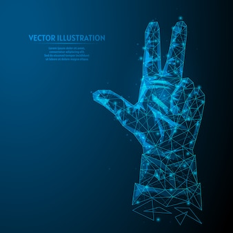 A mão de um jovem empresário mostra três dedos. o conceito de negócios, análises, cálculos, previsões. inovação nos negócios. ilustração do modelo 3d wireframe baixo poli.