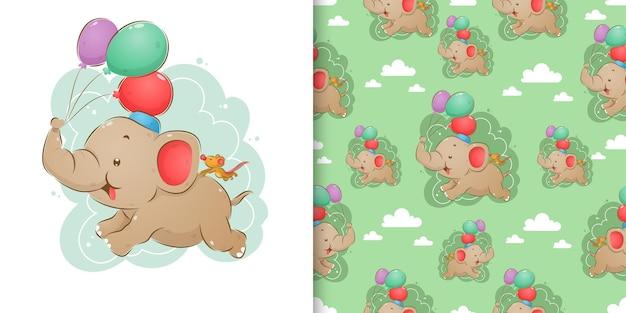 A mão desenhada de elefante e rato está voando nos balões coloridos em sua tromba no padrão uniforme de ilustração