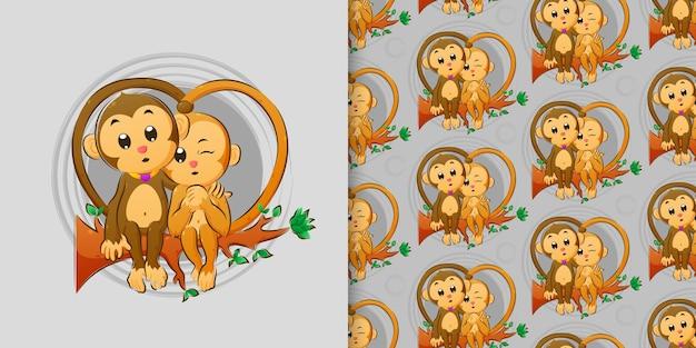 A mão desenhada do lindo casal de macacos sentados juntos no galho da ilustração