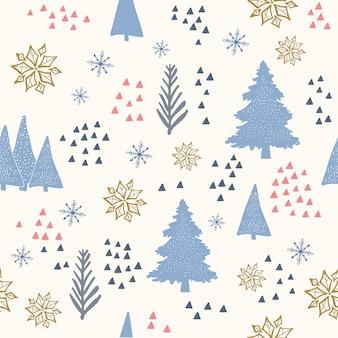 A mão desenhada floco de neve e árvore de natal sem costura padrão