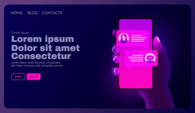 A mão do conceito de bot de bate-papo segura o smartphone e se comunica com um bot de bate-papo estilo neon futurista