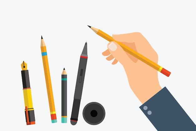 A mão do homem com ferramentas de escrita e conjunto de material de escritório