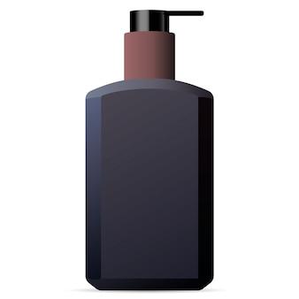 A mão e o corpo lavam o modelo da garrafa dos cosméticos dos homens.