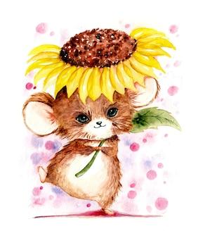 A mão em aquarela desenha um rato bonito e realista com girassol